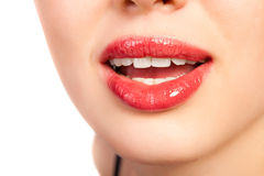 Close-up  of beautiful woman lips Stock Photo