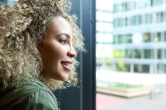 Close up of beautiful woman looking out window royalty free stock photos