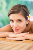 Close up of a beautiful woman on massage table Royalty Free Stock Photos