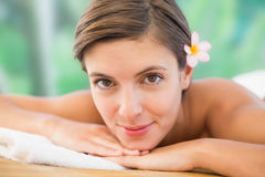 Close up of a beautiful woman on massage table Stock Images