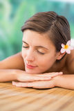 Close up of beautiful woman on massage table Stock Photography