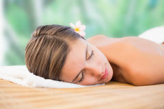 Close up of beautiful woman on massage table Royalty Free Stock Images