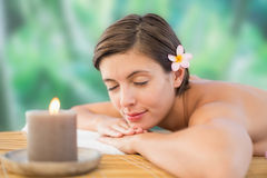 Close up of a beautiful woman on massage table Stock Photography