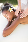 Close up of a beautiful woman on massage table Royalty Free Stock Images