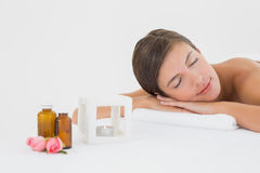 Close up of a beautiful woman on massage table Royalty Free Stock Photography