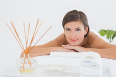 Close up of a beautiful woman on massage table Stock Photo