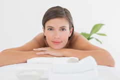Close up of a beautiful woman on massage table Royalty Free Stock Photo