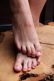 Close-up of a beautiful woman pedicured feet Stock Images