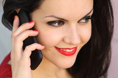 Close up of a beautiful woman on the phone Royalty Free Stock Image