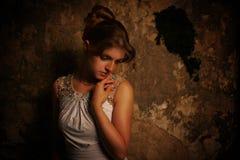 Close up beautiful woman portrait. Close up portrait of thoughtful beautiful woman Royalty Free Stock Photos