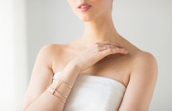 Close up of beautiful woman with ring and bracelet Stock Photography