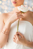Close up of beautiful woman with ring and bracelet Stock Photos