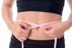 Close-up of a beautiful woman`s waist measurement royalty free stock image