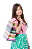 Close up beautiful woman with shopping bags Royalty Free Stock Photo