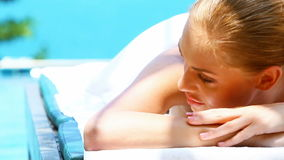 Close up of beautiful woman on spa bed stock footage