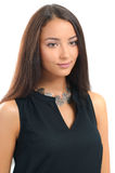 Close-up of beautiful woman wearing luxury silver necklace Royalty Free Stock Photo