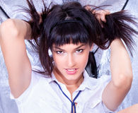 Close up Beautiful young  brunette posing Stock Photography