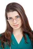 Close up of beautiful young woman with eyeglasses Royalty Free Stock Image