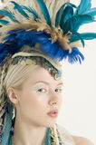 Close-up of beautiful young woman with headdress Stock Images