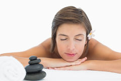 Close up of a beautiful young woman on massage table Royalty Free Stock Photography