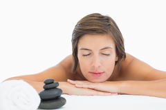 Close up of a beautiful young woman on massage table Royalty Free Stock Images