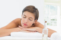 Close up of a beautiful young woman on massage table Royalty Free Stock Photos