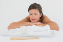 Close up of a beautiful young woman on massage table Stock Photography
