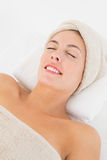 Close up of a beautiful young woman on massage table Royalty Free Stock Image