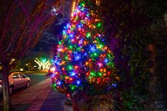 Close-up of a beautifully decorated Christmas Tree. Night time photograph of a lit-up beautifully decorated Christmas tree in Lake Oswego, Oregon stock photo
