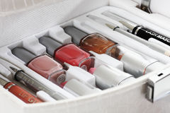 Close up of beauty case with cosmetics Royalty Free Stock Image