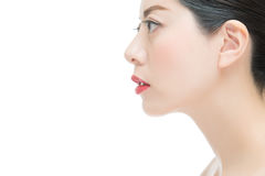 Close up of beauty fashion asian girl with red lipstick Stock Photos