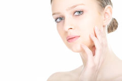 Close-up beauty girl portrait. On white background royalty free stock images