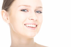 Close-up beauty girl portrait. On white background royalty free stock photo
