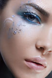 Close up beauty head shot woman with fantasy makeup Stock Photography