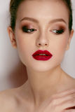 Close-up beauty portrait of beautiful model with bright make-up Royalty Free Stock Images