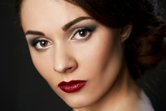 Close up beauty portrait on dark background. Beautiful young model beauty stock photo