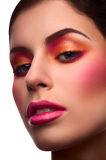 Close-up beauty portrait of model with blush and pink lips Royalty Free Stock Photo