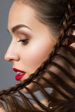 Close-up beauty portrait of young aristocratic woman with red. Lips and french braid hairdo. Classic make up. Studio shot Royalty Free Stock Photo