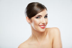 Close up beauty portrait, Young attractive woman face. Adorable Female model Royalty Free Stock Images