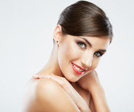 Close up beauty portrait, Young attractive woman face. Adorable Female model Stock Images