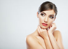 Close up beauty portrait, Young attractive woman face royalty free stock photo