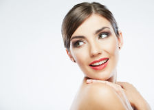 Close up beauty portrait, Young attractive woman f. Ace . Adorable Female model Royalty Free Stock Images