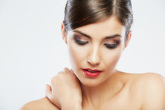 Close up beauty portrait, Young attractive woman f. Ace . Adorable Female model Stock Photography