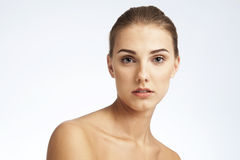 Close-up beauty portrait of a young woman. Stock Image