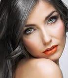 Close up beauty portrait of young woman. Female model studio portrait Royalty Free Stock Photos