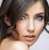 Close up beauty portrait of young woman. Female model studio portrait Stock Images