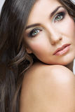 Close up beauty portrait of young woman. Female model studio portrait Royalty Free Stock Images