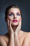 Close-up beauty portrait  young women Stock Photo