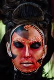 Close-up beauty red art make-up portrait of halloween woman Witch baroque. Royalty Free Stock Photos