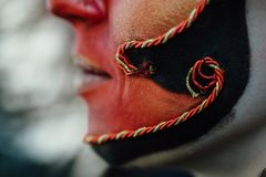 Close-up beauty red art make-up portrait of halloween woman Witch baroque. Royalty Free Stock Photography